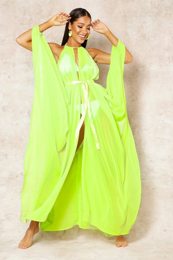 Womens Lime Showstopping Beach Cover Up