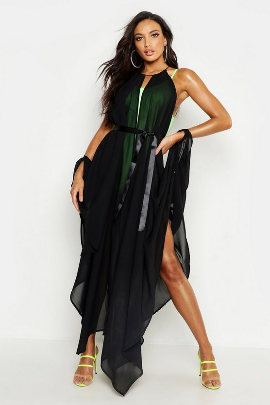 Womens Black Showstopping Beach Cover Up