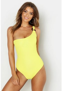 Yellow One Shoulder Textured Swimsuit