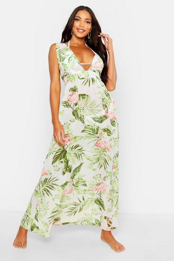 Womens Green Tropical Maxi Beach Dress