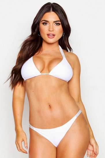 Womens White Diamante Strap Triangle Bikini