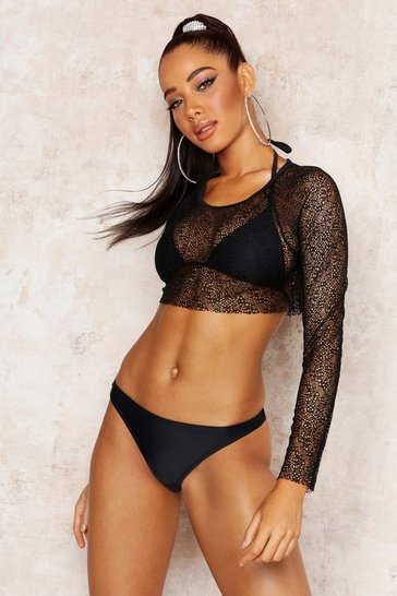 Womens Black Three Piece Mesh Cover Bikini Set
