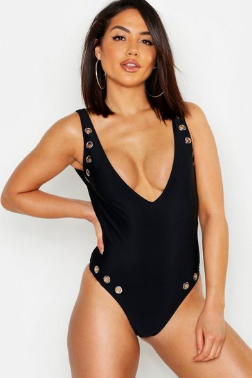 Womens Black Eyelet Plunge Swimsuit