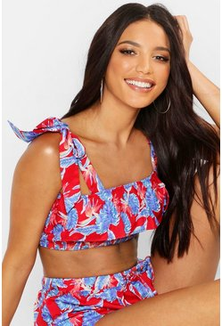 Womens Red Leaf Print Ruffle Shirred Beach Co-ord