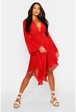 Womens Red Golden Plunge Split Sleeve Beach Dress