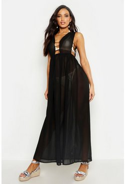 Black Cut Out Maxi Beach Dress