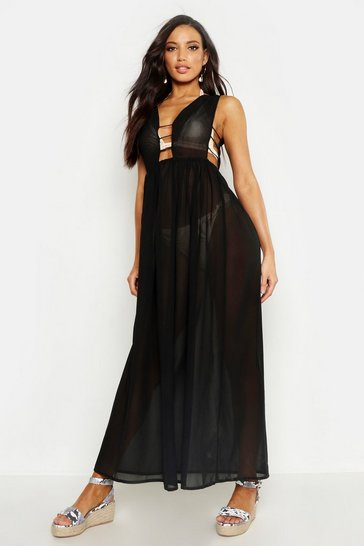 Womens Black Cut Out Maxi Beach Dress