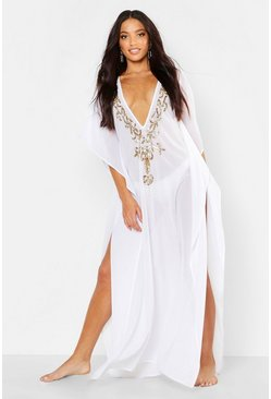 Womens White Embellished Maxi Beach Kaftan