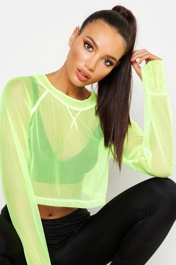Womens Lime Fit Neon Mesh Gym Top