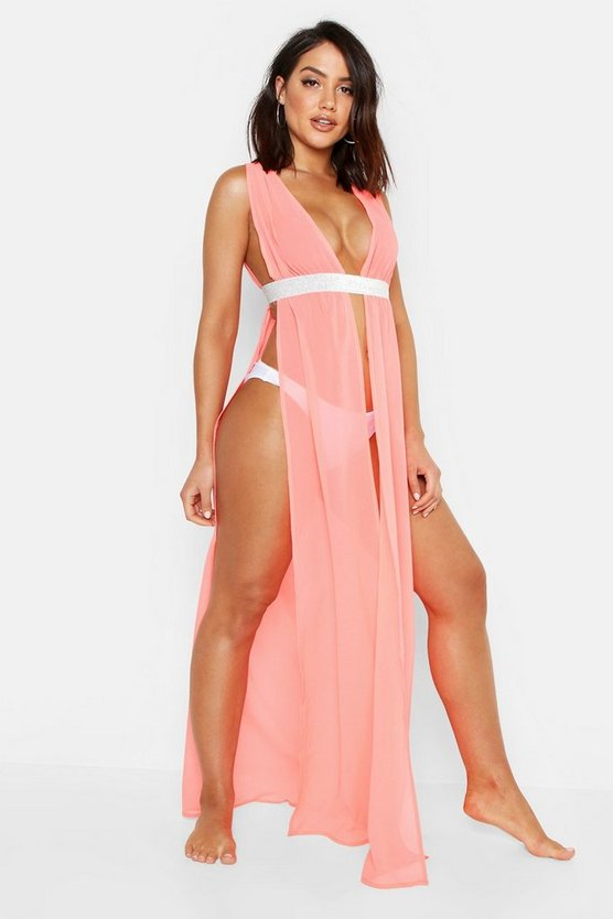 Womens Coral Plunge Glitter Tape Beach Cover Up