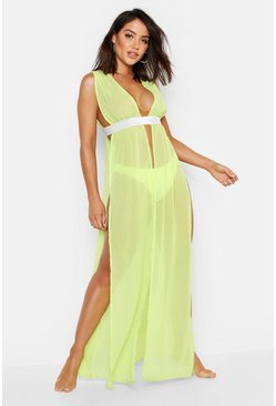 Womens Lime Plunge Glitter Tape Beach Cover Up