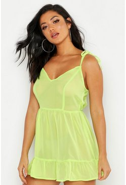 Robe de plage mini à volants superposés, Citron vert, Femme