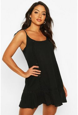 Vestido playero con bordado de Cheesecloth, Black