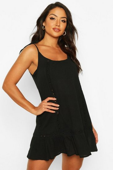 Womens Black Embroidered Cheesecloth Beach Dress