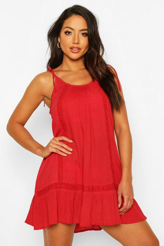 Red Embroidered Cheesecloth Beach Dress