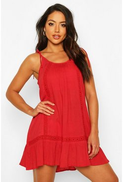 Womens Red Embroidered Cheesecloth Beach Dress