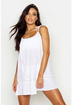 White Embroidered Cheesecloth Beach Dress