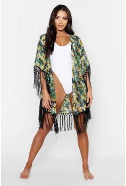 Womens Green Tropical Fringed Beach Kimono