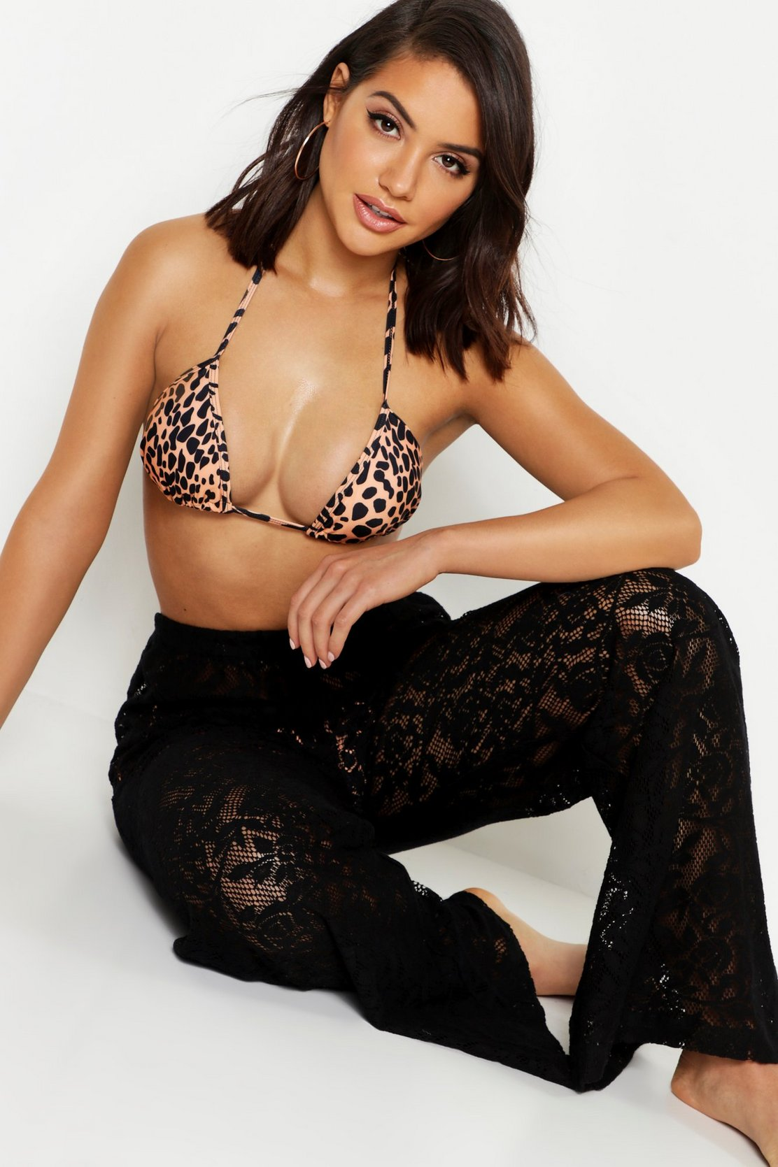 Lace Beach Trousers by Boohoo