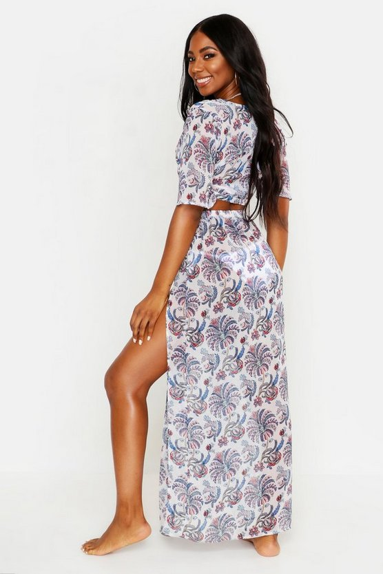 Paisley Tie Front Beach Co-ord