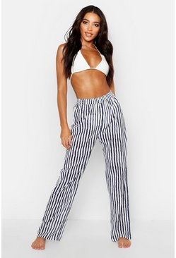 Womens White Stripe Beach Trousers