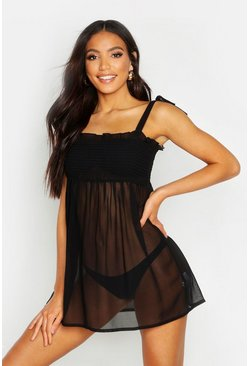Womens Black Smock Beach Dress