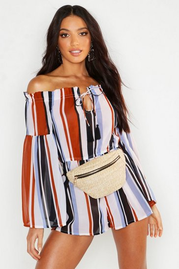 Womens Blue Stripe Bardot Beach Playsuit