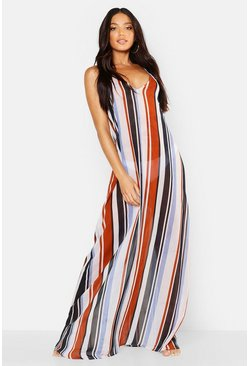 Womens Blue Stripe Beach Maxi Dress