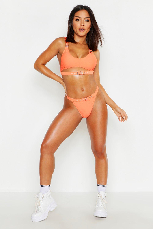 womens neon eyelet crop bikini - orange - 2
