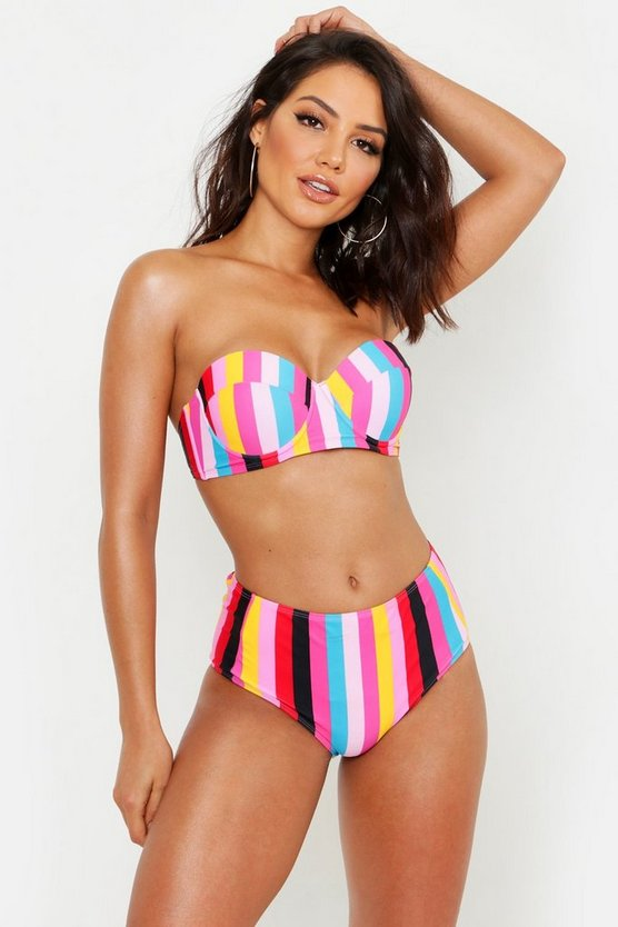 Womens Pink Mix & Match Rainbow Stripe High Waist Brief