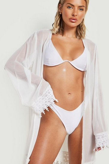 Womens White Embroidered Edged Beach Kimono