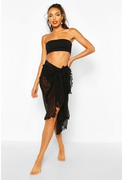 Womens Black Pom Pom Multiwear Beach Sarong