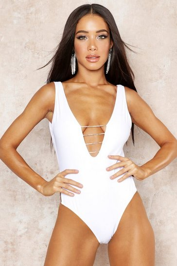 Womens White Premium Diamante Plunge Swimsuit