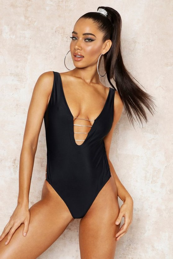 Womens Black Premium Diamante Plunge Swimsuit