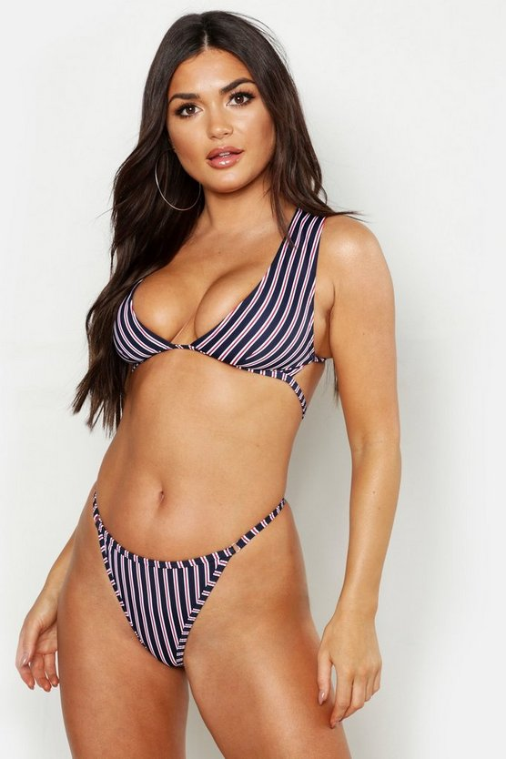 Womens Navy Mix & Match Stripe Triangle Bikini Top