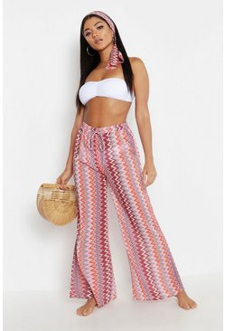 Womens Pink Zig Zag Beach Trouser & Headband Set