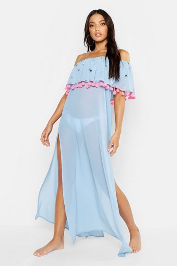Womens Blue Sequin & Pom Pom Bardot Maxi Beach Dress