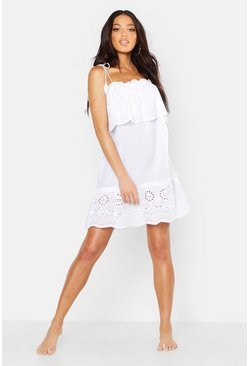 Womens White Cotton Schiffily Beach Dress