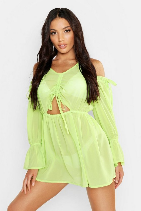 Womens Lime Cold Shoulder Beach Dress