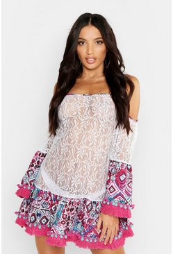 Womens Pink Lace Contrast Pom Pom Beach Dress