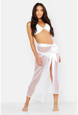 Womens White Premium Pearl Embellished Satin Tie Beach Sarong