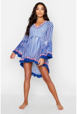 Womens Blue Paisley & Stripe Pom Pom Beach Dress