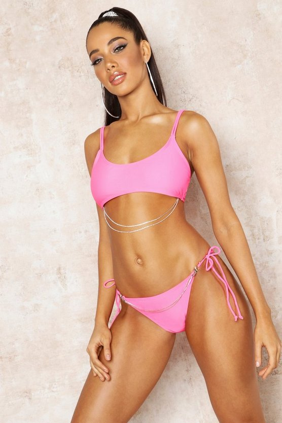 Womens Pink Premium Diamante Detail Crop Bikini