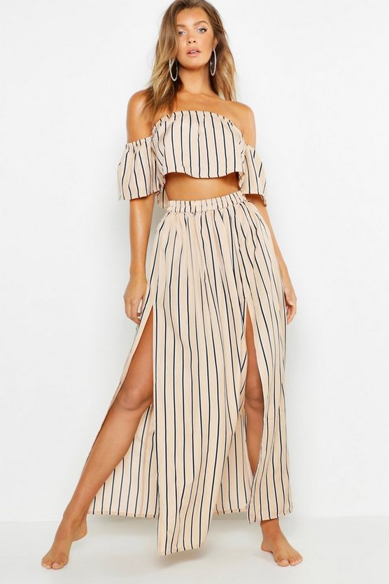 Pinstripe Maxi Beach Skirt Co-ord
