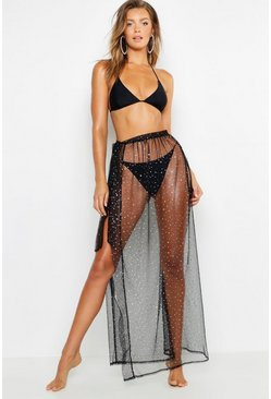 Womens Black Bridal Metallic Shimmer Mesh Beach Maxi Skirt