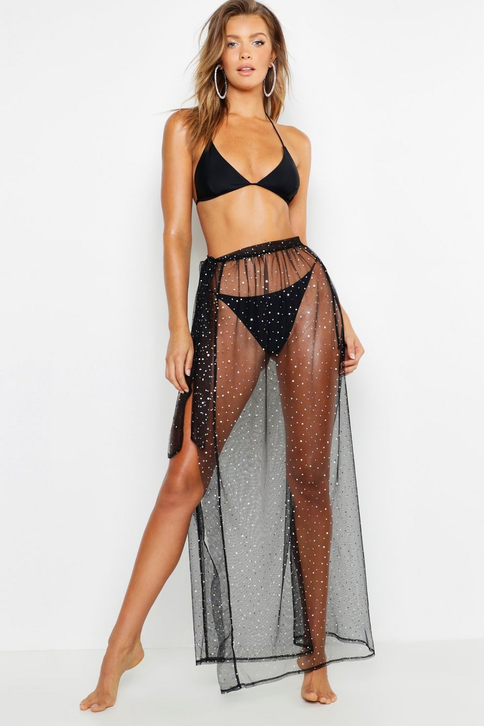 3ab1480cee Womens Black Bridal Metallic Shimmer Mesh Beach Maxi Skirt