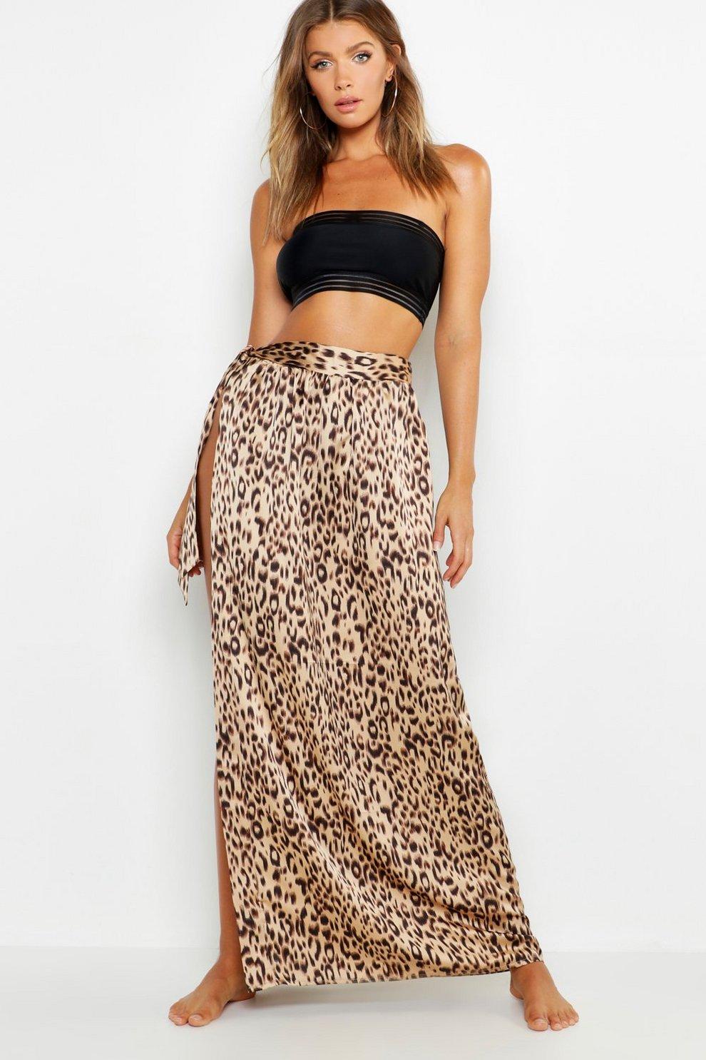 18f019d0e62f Leopard Print Maxi Tie Beach Skirt | Boohoo
