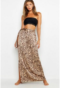 Womens Brown Leopard Print Maxi Tie Beach Skirt