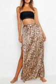 60d6383284 ... Womens Brown Leopard Print Maxi Tie Beach Skirt alternative image