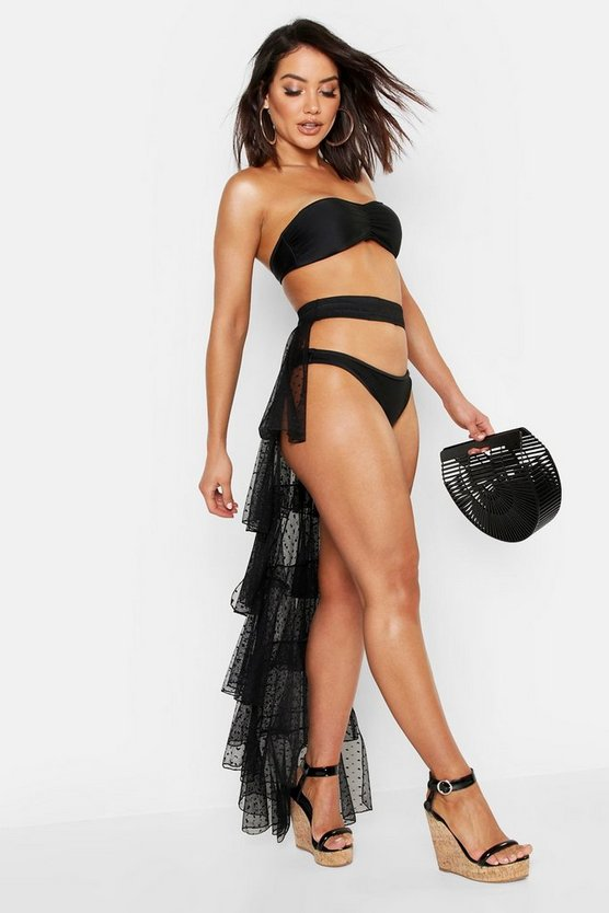 Womens Black Dobby Mesh Ruffled Sarong
